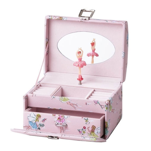 Smykkeskrin med ballerina, rosa/hvitt - 34065-2