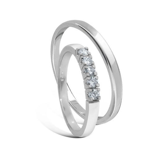 Giftering & diamantring Iselin 0,25ct hvitt gull 14kt, 3 mm - 11530-8505050