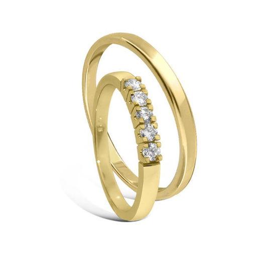 Giftering & diamantring Iselin 0,25ct gult gull 14kt, 3mm -115300-85050500