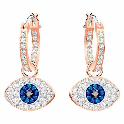 Swarovski Symbolic Evil Eye Hoop Pierced Earrings, Blue, Rose-gold tone plated øredobber - 5425857