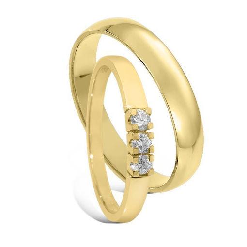 Giftering & diamantring Iselin 0,15ct gult gull, 4 mm - 1240-85030500