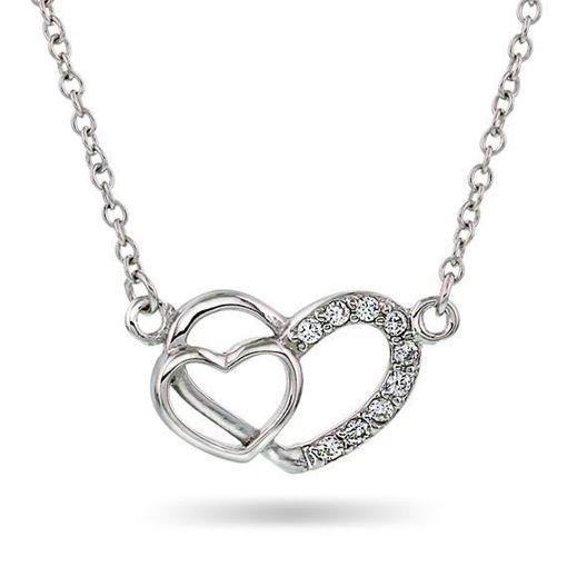 Smykke i sølv. Dobbelt hjerte - 65002