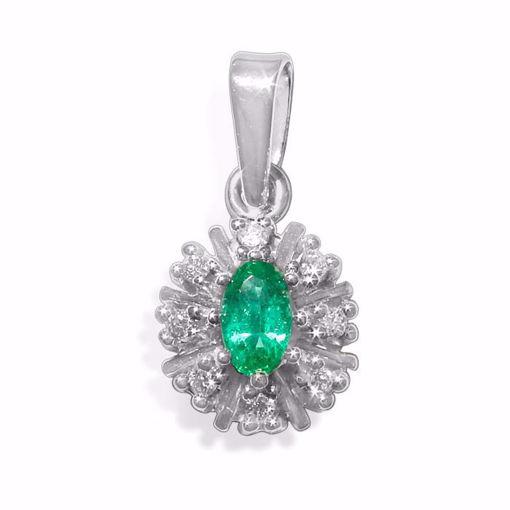 Diamantsmykke i gull med 0,12 ct W-Si & smaragd-2700570