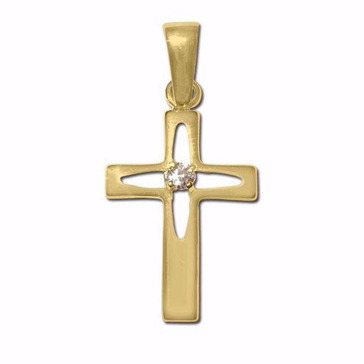 Kors i gult gull med zirkonia 14kt/585 -790142