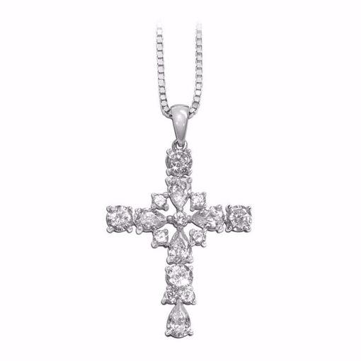 Kors i sølv med zirkonia -790150