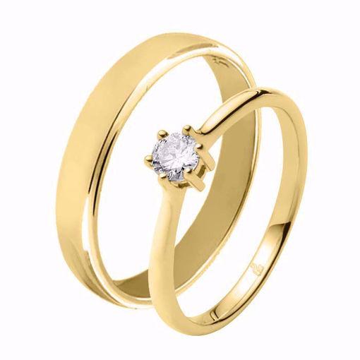 Giftering & diamantring 0,21 ct TW-Si i gult gull - 51000150-115300