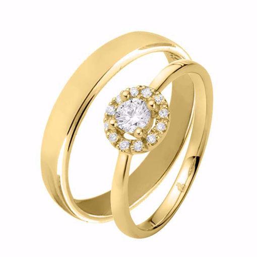 Giftering & diamantring 0,30 ct TW-Si i gult gull - 51000250-115400