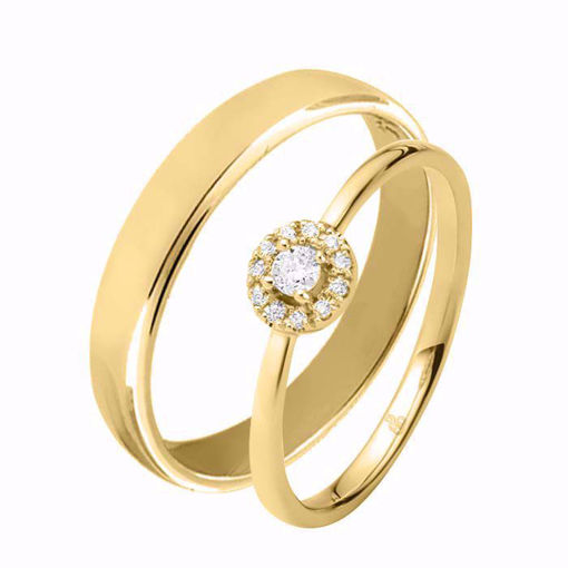 Giftering & diamantring 0,12 ct TW-Si i gult gull - 51000220-1154300