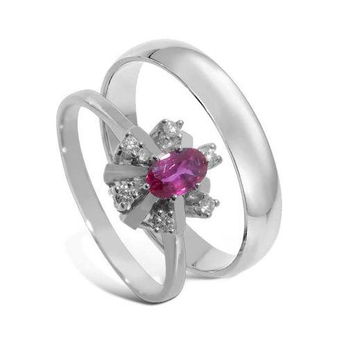 Giftering & diamantring 0,06ct hvitt gull, 4 mm - bur570286-1340