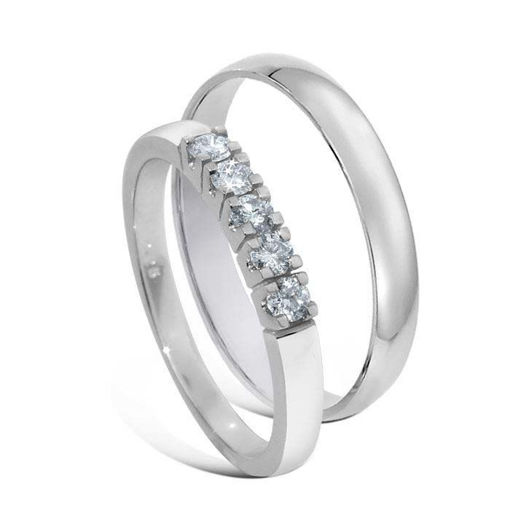 Giftering & diamantring Iselin 0,25ct hvitt gull 14 kt, 3 mm - 1330-8505050