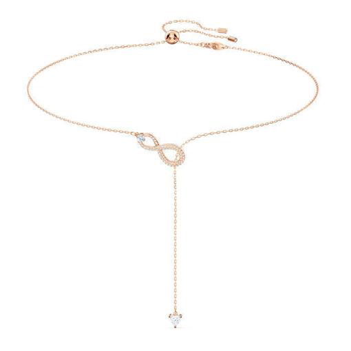Smykke Swarovski Infinity Y Necklace, White, Rose-gold tone plated - 5521346
