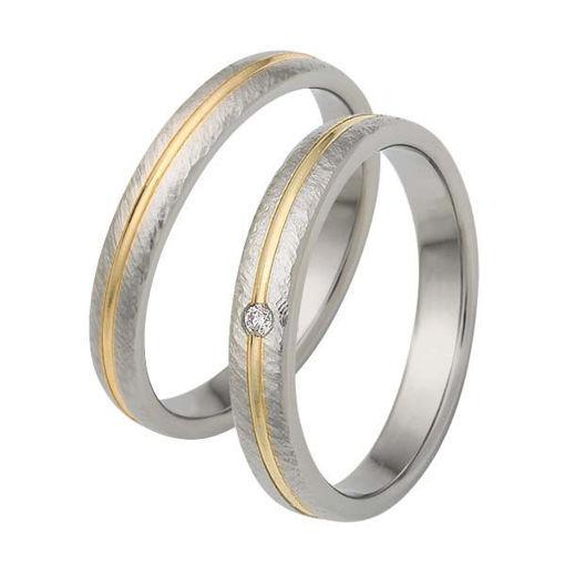 Gifteringer i stål & gult gull, 3,5 mm med diamant. RAUSCHMAYER - 1160090