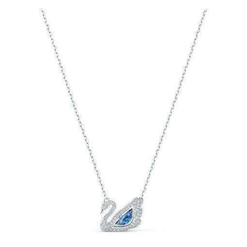 Swarovski smykke Dancing Swan Necklace, Blue, Rhodium plated - 5533397