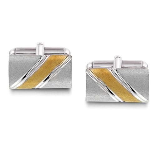 Mansjettknapper i sølv med metall bakstykke. Rhodinert - 63876