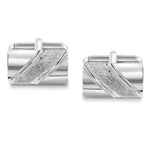 Mansjettknapper i sølv med metall bakstykke. Rhodinert - 63881
