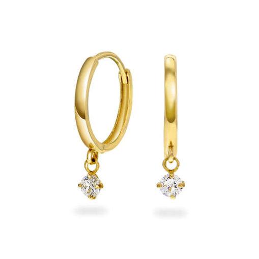 Øredobber i gult gull med zirkonia med oppheng- 56950