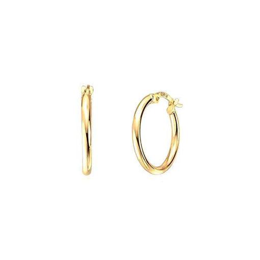 Øredobber i gult gull 14 kt, 2mm/18mm - 46085