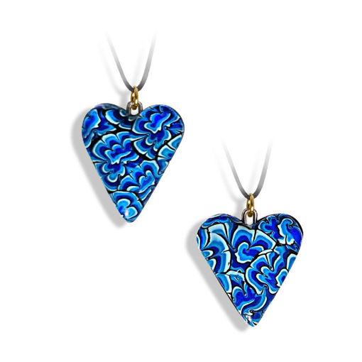 Hjertesmykke Krysantemum, blått, håndlaget -28020699