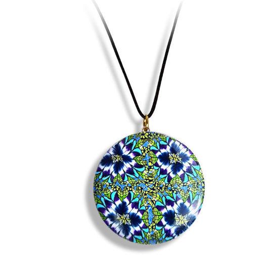 Smykke Kaleidoskop med blå blomster, håndlaget -28020709