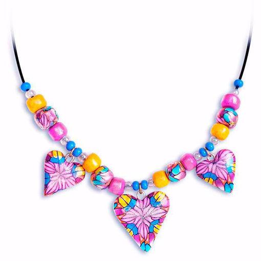 Håndlaget collier, rosa & gul & blå hjerter - 28020690