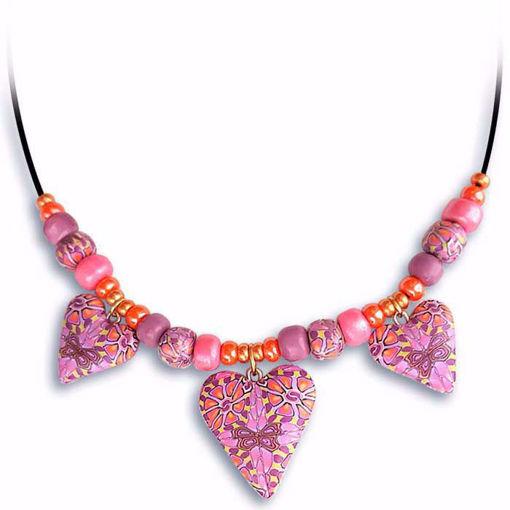 Håndlaget collier, rosa hjerter - 2802071