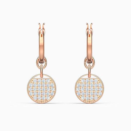 Swarovski øredobber Ginger Mini Hoop Pierced Earrings, White, Rose-gold tone plated - 5567528