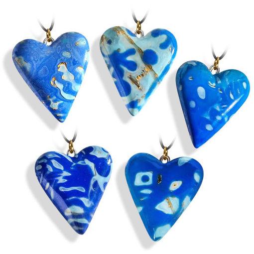 Hjertesmykke blå, håndlaget 25x23 mm-28020719