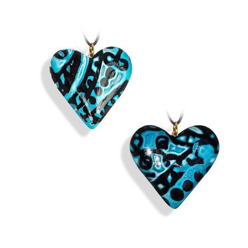 Hjertesmykke blå, håndlaget 34x34 mm-28020721