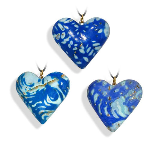Hjertesmykke blå, håndlaget 34x34 mm-28020722