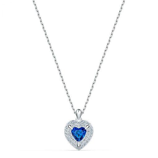 Swarovski smykke One Pendant, Blue, Rhodium plated - 5511541
