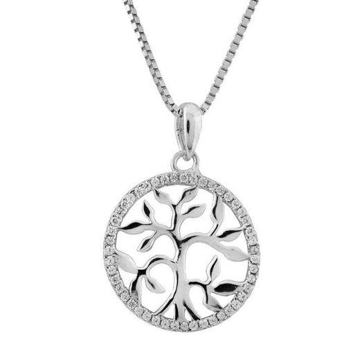 Livets tre i sølv med zirkonia - 2986542