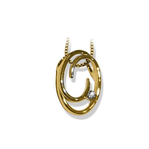 Diamantsmykke i gult gull med 0,025 ct W-Si -BUR242601