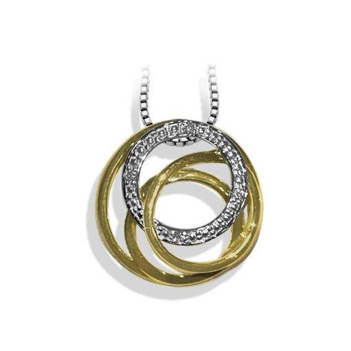 Diamantsmykke i hvitt&gult gull med 0,02 ct W-P1 -BUR242602