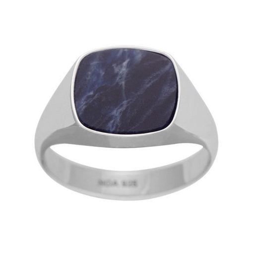 Herrering i sølv fra SON of NOA, blå - 167002