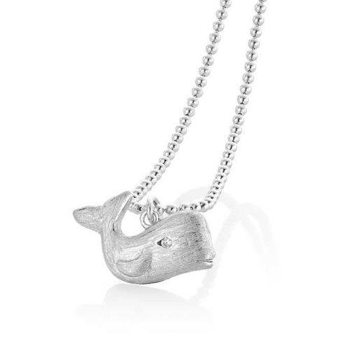 Smykke hval i sølv med zirkonia - 2995880