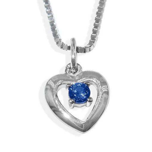 Sølvsmykke hjerte med blå zirkonia, til barn - 9094