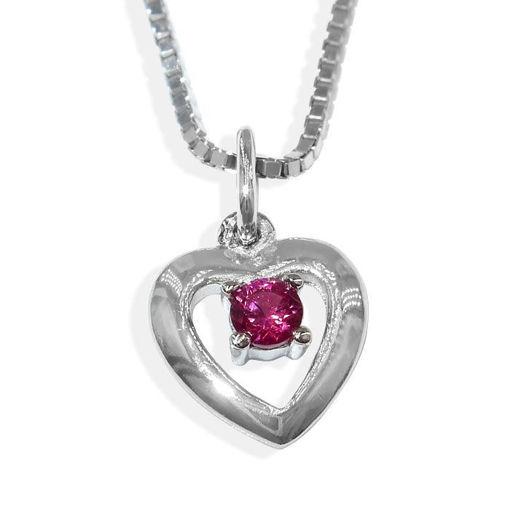 Sølvsmykke hjerte med rød zirkonia, til barn - 90921
