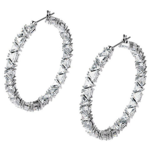 Swarovski øredobber Millenia hoop Triangle, hvitt - 5598343