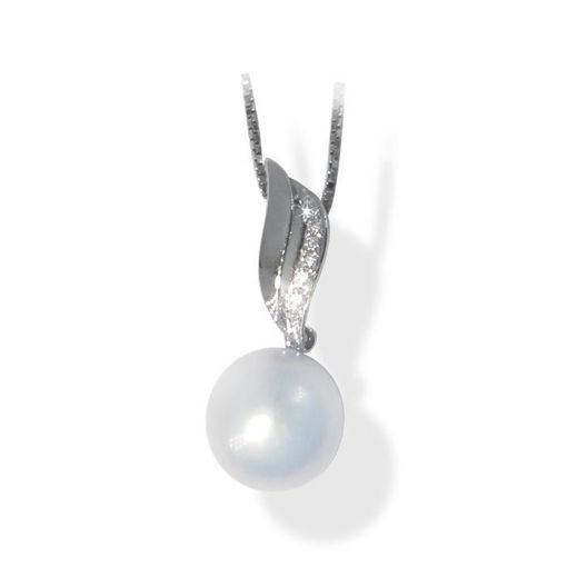Smykke i hvitt gull med 0,05 ct W-Si og perle- BUR220970