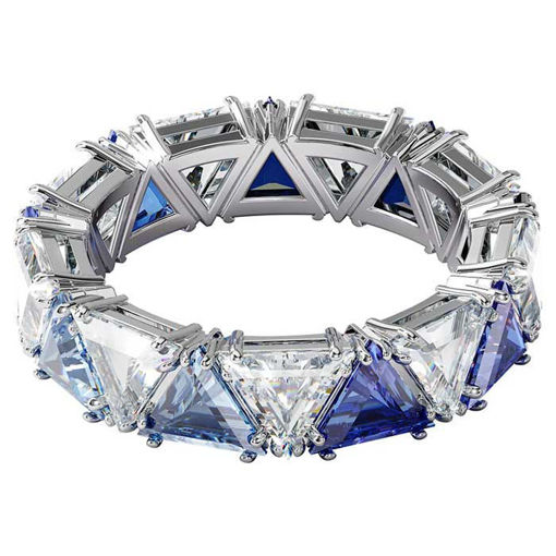 Swarovski Millenia cocktail ring Triangle cut crystals, Blue, Rhodium plated - 5608527