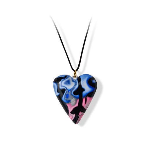 Håndlaget hjertesmykke  Hidden Magic, rosa & blå mønster 24x28 mm - 28020736