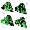 Håndlaget hjertesmykke Hidden Magic, grønn mønster 24x28 mm - 28020733