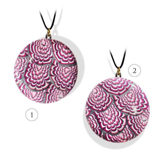Smykke rosa & sort Krysantemum, med snor-280207455