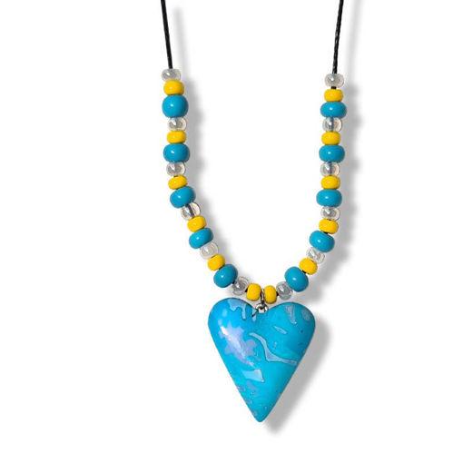 Сollier med hjerte, blå og gul farger. -280207475