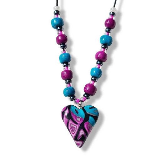 Collier med hjerte, i Lilla &turkis  mønster - 280207481