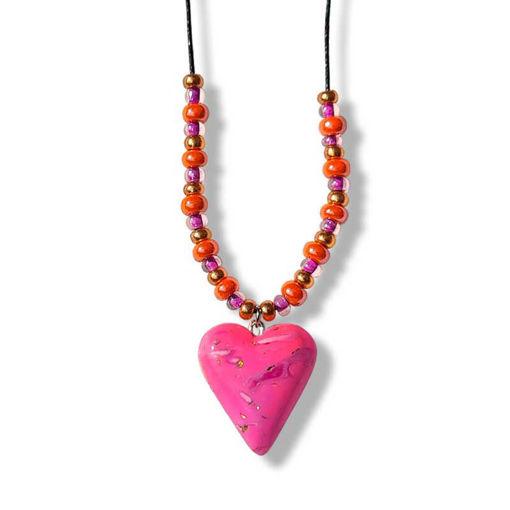 Collierhjerte i rosa, med glassperler, oransje & rosa -280207482