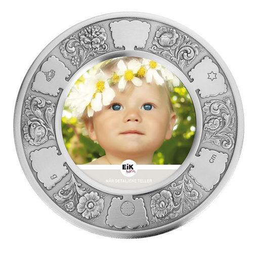Dåpsramme i tinn Blomster - 12409