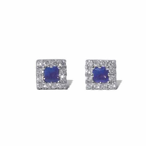 Diamant øredobber i gull 18 kt med 0,12 ct W-SI og safir-7500120