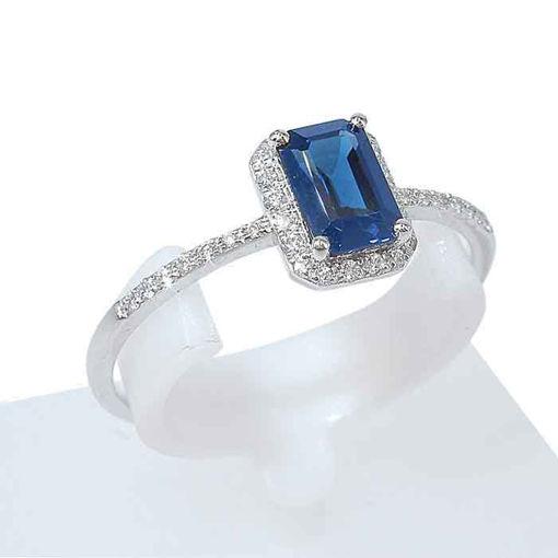 Diamantring i gull med safir-5347901