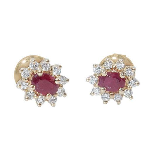 Diamant øredobber i gull med 0,19 ct TW-Si & rubiner -COC0190
